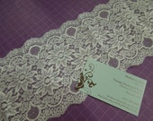 1 yard of 5 inch White galloon chantilly lace trim for bridal, garter, wedding supplies, couture by MarlenesAttic - Item ZZ0