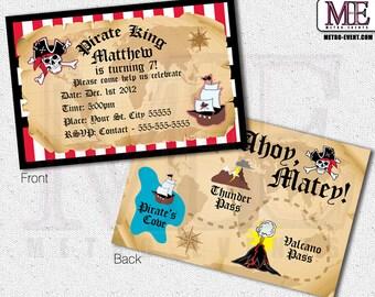 Pirate Invitations, Vintage Pirate Invitations, Pirate Invitations, Pirate Party Invitations, Printed Pirate Invitation, Invitations, Invite