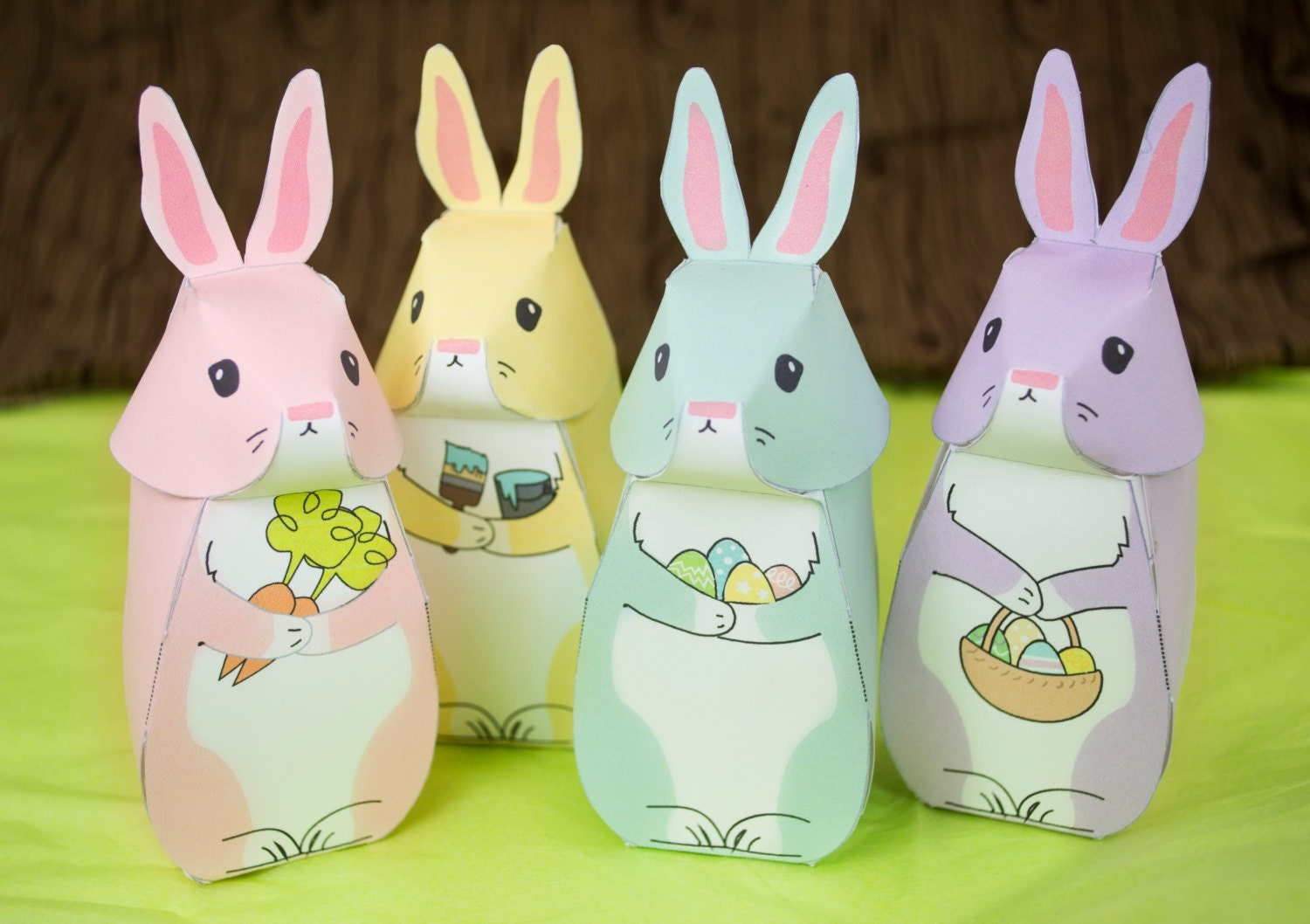 Diy printable easter bunny gift boxes easter party favor zoom negle Images