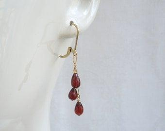 Garnet Chandelier Earrings:  Deep Red AAA Garnets- 14K Gold Filled Chain- January Birthstone- Valentine's Day Gift