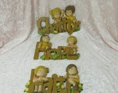 Vintage 1982 Burwood 3 Piece Wall Hanging Plaques Faith Hope Charity Molded Plastic Boy Girl
