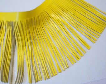Genuine leather fringes yellow leather - long leather - long fringes -