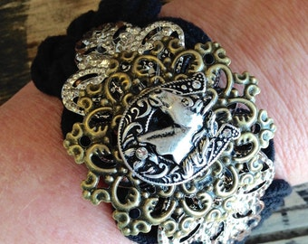 Black Cuff with Rhinestone Horseshoe