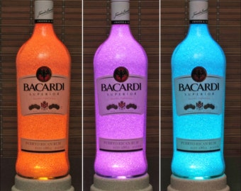 Bacardi Rum Color Changing Remote Controlled LED Bottle Lamp Bar Light Accent Lamp Bodacious Bottles