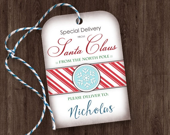 ... Santa Claus Gift Tags - Editable Personalized Name - DIY Gift Tags