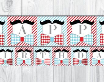 Mustache Happy Birthday Banner-Little Man Birthday Banner-Blue & Red-DIGITAL DOWNLOAD