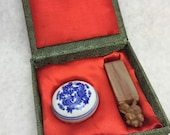 Chinese Soap Stone Stamp with Ink Pad and Case