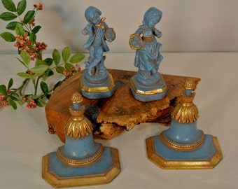 Petite French Inspired Figurines with Wall Shelves