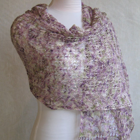 Beaded Lace Knit Shawl - Rose Garden