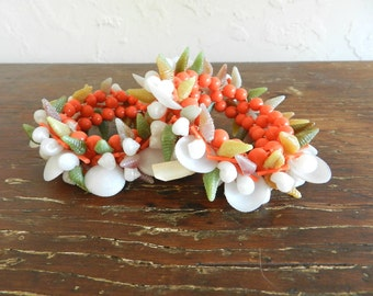 Mid-Century PLASTIC SHELL BRACELETS - Set of 2 / Pin Up Jewelry / Retro Plastic / Hawaiian / Tropical / Tiki / Luau / Excellent Condition