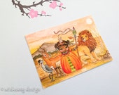 """Aceo art print, African art, children's african art, whimsical princess painting, miniature painting """"African Princess""""  2.5 x 3.5 inches"""