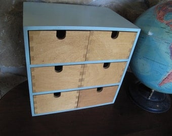 Wooden Storage Bins, Cubbies, Craft Storage, Robins Egg Blue, Painted, Dovetailed, Modern, Simple, Wood, Organizer, Drawers,