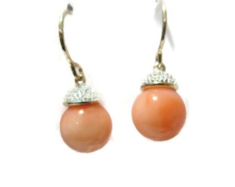 Pave Diamond Coral Earrings,  14K Gold Angel Skin Coral Dangle Earrings, Natural Pink Coral Drops, Artisan Handmade by Sheri Beryl