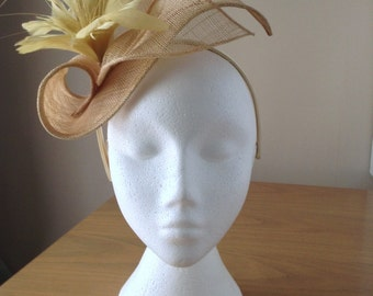 Champagne Gold Sinamay and Feather Fascinator Formal Hat, on a hairband, weddings, races, Kentucky Derby, Ascot, Melbourne Cup, Regatta