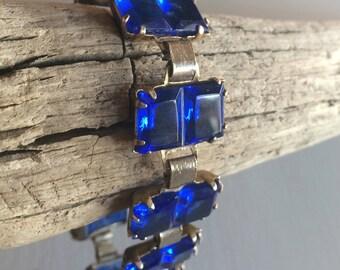Stunning 30s Deep Blue Czech Glass Bracelet, Art Deco Bracelet, Cut Glass Stones, Wide Tennis Bracelet