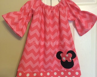 Pink Tonal Chevron Mouse Peasant Dress with Pink/White Polka Dot Border