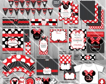 Minnie Mouse Party Decorations, Printable Minnie Mouse Birthday Party Supplies, Minnie Mouse Printables, Party Package, Favor Tags and more
