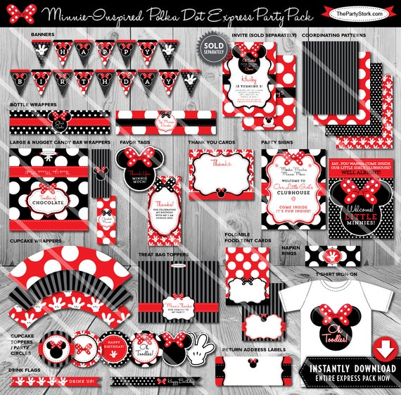 Minnie Mouse Party Decorations Minnie Mouse Party Printables