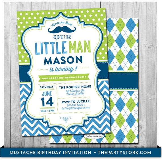 Little Man Birthday Invitation Little Man Invitation Mustache