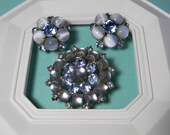 Elegant Blue Floral Jewelry Set, Quality Classic Vintage