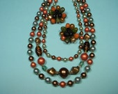 Classic 50s Jewelry Set, Vibrant Autumn Colors, Green, Rust and Gold Beads, Vintage