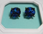 Midnight Blue Earrings, Black Japanned Frames, Vintage Clip Ons