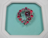 Red Rhinestone Wreath Brooch or Pin, Aurora Borealis, Silver Tone Classic