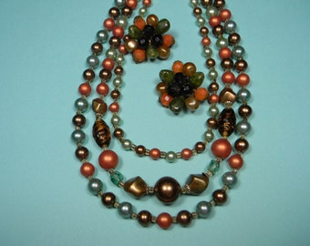Autumn Colors Jewelry Set, Classic 50s, Green, Rust and Gold Beads, Vintage