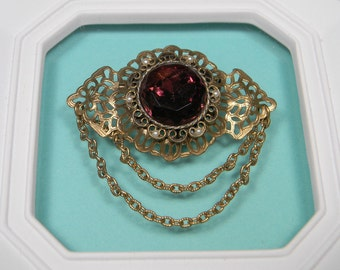 Ornate Purple Brooch or Pin, Glass Stone, Faux Pearls, Dangle Looped Chains