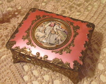 Vintage Pink and Gilt Trinket Metal Trinket Box w/ Miniature