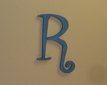 Fancy Wood Letter R Distressed 12 inch Rustic Wall Decor Choice of Letter and Color