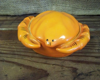 Crab Trinket Box Kikusui Trinket Box Porcelain Trinket Box Orange Crab Beach Trinket Box