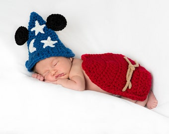 Mickey Mouse Inspired Whimsical Cuddle Cape Set- Sizes:  0-3  or 3-6 Mos. - Costume/Photo Prop