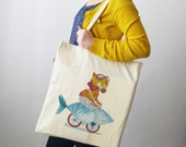 Cycling Cat Tote Bag - Hipster Cat Fish Bike, Reusable Shopping Bag, organic cotton bag, quirky design tote