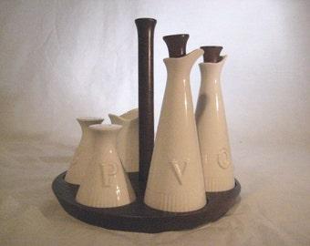 NAPCOWARE Vintage Condiment 8 Piece Set  Caddy  Ceramic Made in Japan