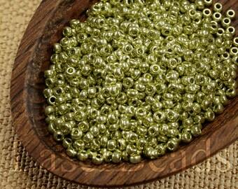 20g 11/0 seed beads Czech seed beads Czech rocailles Pale Green Metallic seed beads 11/0 seed beads 54 MET Opaque seed beads