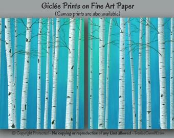 Birch tree painting - Wall art print set, Teal blue green aqua, Artwork, Turquoise gray, Home decor, Master bedroom, Office, Aspen Landscape