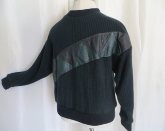 Mens 80s vintage sweater, pullover, leather accents, green black stripe, size L XL