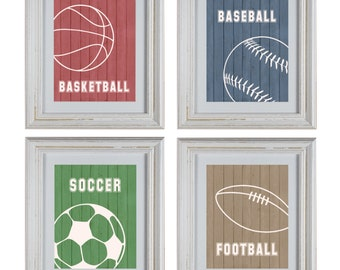 Sports Theme Nursery Art DIY Printable- Basketball, Football, Baseball, Soccer Wall Art Prints- Baby Boy Nursery Art