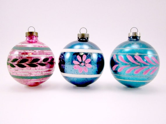 1950s Vintage Glass Christmas Ornaments By