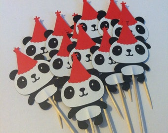 12 panda with birthday hat cupcake toppers, panda bear food picks, Party toppers, Panda themed party toppers, birthday panda cupcake toppers