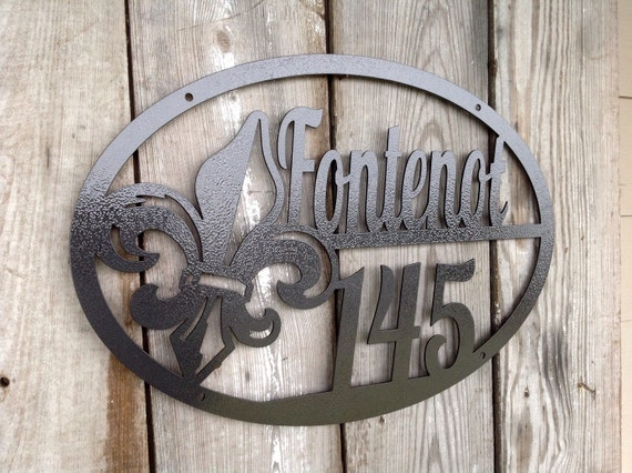 20x14 Custom Personalized Steel Welcome Address Plaque House Sign Marker Louisiana Fleur de lis