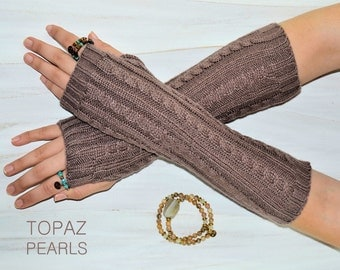 Taupe Mauve Brown  Arm hand Warmers knitted Fashion Accessories Fingerless Gloves Women's Hand Warmer Accessory Free People By TOPAZ PEARLS
