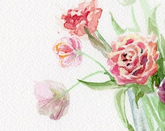 Flower painting, Dutch Tulips original watercolor, tulips bouquet, mother's day gift