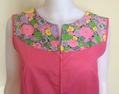 Vintage 1950's - 1960's Pink House Dress with Bright Floral neck Pattern