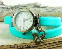 Aqua Wrap Watch with lovely birds - Aqua rubber band watch and birds. charm. Jewelry for her.-Black friday - Cyber monday