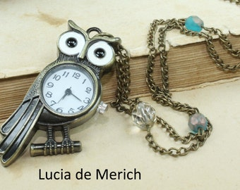 Pocket watch owl necklace - vintage style owl with czech glass beads
