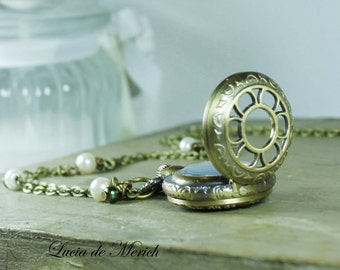 Victorian pocket watch necklace - Vintage style - gift uder 25 USD - coupon code-Mother's day gift