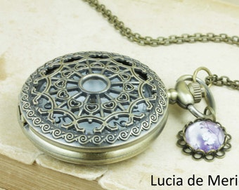 Pocket Watch Locket with Charm Adornments -  Bronze Clocket Necklace - Purple Floral Bridesmaid Gift, Mothers Day