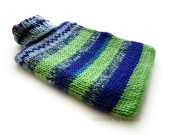 Blue and Green Stripes Knit Hot-water Bottle Cover